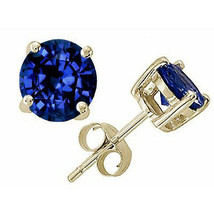 2.00 CT 6mm14K YELLOW GOLD BLUE SAPPHIRE ROUND CUT STUD PUSH BACK EARRINGS  - $53.80