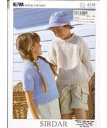 Sirdar Knitting Pattern 4238 - Nova Super Chunky Sweaters for Children 1... - $6.92