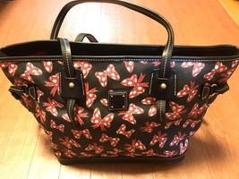 Dooney & Bourke Disney Minnie Mouse Ribbon Pattern Tassel Tote Bag Handcase - $474.21