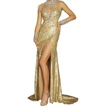 Women'S Gold Sequin Formal Prom Dress With Long Sleeve High Split Sheer Evening  - $158.66