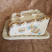 Antique Hand Painted Cheese Plate with Lid, Floral Design - Unsigned (18... - $31.50
