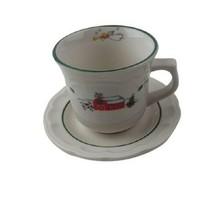 Pfaltzgraff SNOW VILLAGE Flat Coffee Cup & Saucer Set Christmas Holiday - $8.90