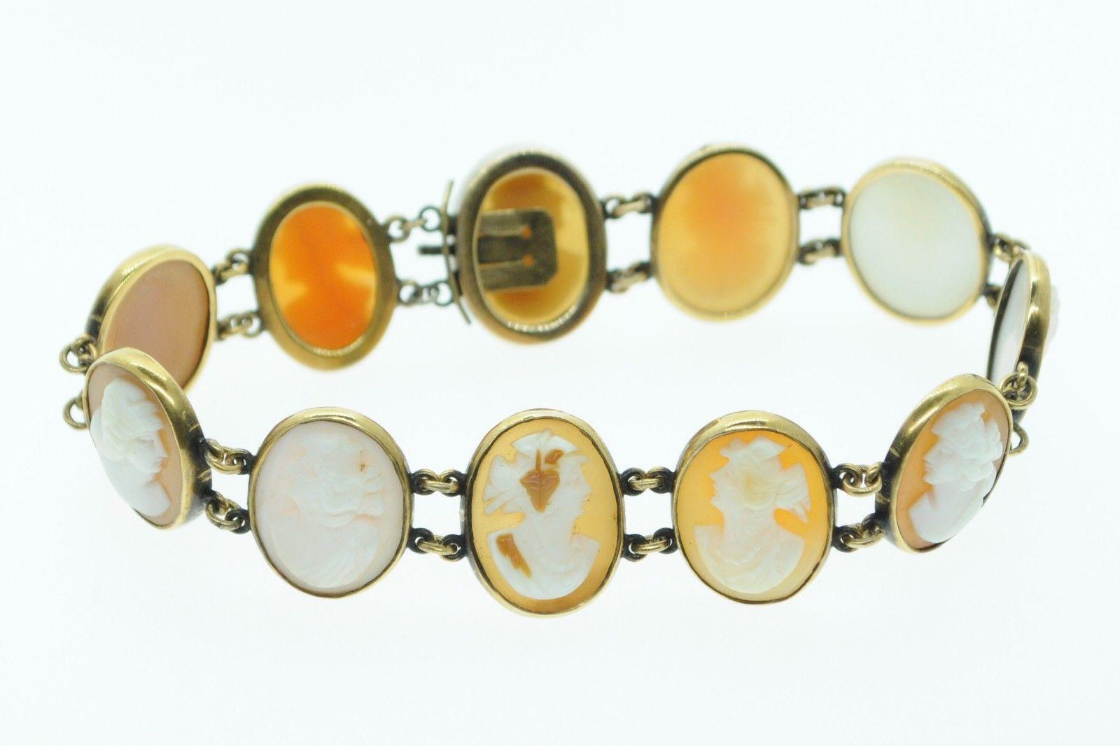 "Art Nouveau (ca. 1900) 14K Yellow Gold Bezel Set 11 Cameo Bracelet (6 5/8"")"