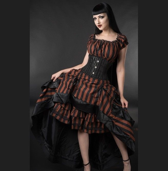 Black Brown Striped Steampunk Corset Back Long 3 Layer Victorian Goth Skirt