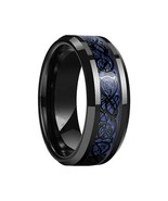 Men Band Ring Blue Carbon Fiber Black Dragon Inlay Tungsten Carbide Jewe... - $25.64+