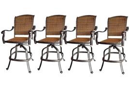 Outdoor bar stools Santa Clara wicker swivel set of 4 cast aluminum patio. image 1