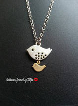 Mom And Baby Bird Necklace Mom And Child Necklace Mom Bird Baby Bird Val... - $33.00+