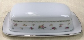 Abingdon Fine Porcelain China Covered Butter Dish Made in Japan White w/... - $29.65