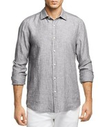 NEW $98 BLOOMINGDALE'S MENS STORE BLUAGE GRAY 100% LINEN BUTTON DOWN SHIRT - $14.97