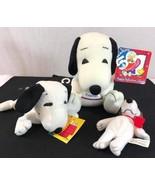 Lot 3 Cares Peanuts Set Snoopy & Woodstock Plush - $21.01