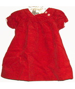GIRLS RED FLOWER BUTTON BACK DRESS SIZE 6/9 MOS. - $2.00