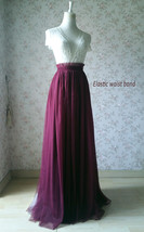 Burgundy Long Tulle Skirt High Waisted Wedding Skirt Burgundy Tulle Maxi Skirt image 6
