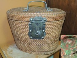 Woven Teapot Caddie Wicker / Rush / Reed lined Vintage 1950s Chinese - $33.24