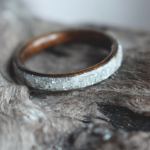 Bentwood Ring,Teak wood with Mother of Pearl, Men's Wood Ring, Women's W... - $65.00