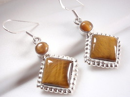 Tiger Eye 925 Sterling Silver Earrings Dangle Drop Dot Accents  Square Round New - $17.58