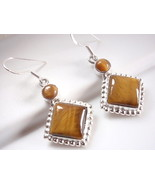 Tiger Eye 925 Sterling Silver Earrings Dangle Drop Dot Accents  Square R... - $17.58