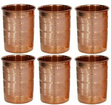 Indian Copper Water Drinking Glass Handmade Tumbler Accessories Set Of 6... - $29.29