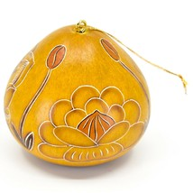 Handcrafted Carved Gourd Art Trollius Flower Floral Ornament Made in Peru image 2