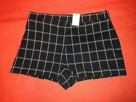 Abercrombie & Fitch Women Black Windowpane Check Plaid Mini High Rise Sh... - $29.69
