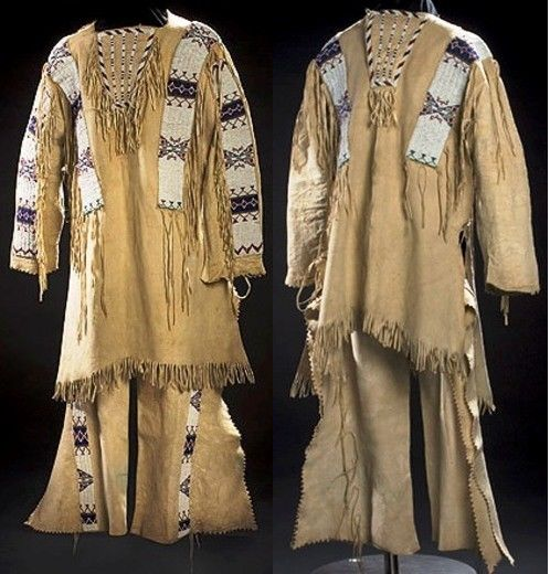 Reproduction Men's Native American Buckskin Beige Bead Leather Shirt/ Pant WS241 image 1