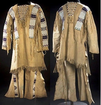Reproduction Men's Native American Buckskin Beige Bead Leather Shirt/ Pa... - $499.00