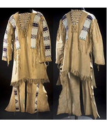 Reproduction Men's Native American Buckskin Beige Bead Leather Shirt/ Pa... - $449.10+