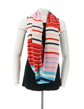 Liz Claiborne NY Multistripe Infinity Scarf Hot Red NEW A251213 - $19.78