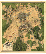 Map Battle of Gettysburg 1863 Civil War Map Military Poster Wall History... - $12.38