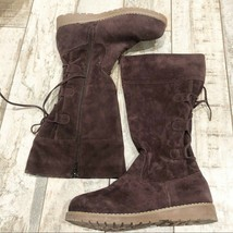 Muk Luks 9 brown burgundy color lace up boots - $35.05