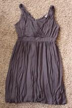W13189 Womens ANN TAYLOR LOFT Gray Stretch Surplice DRESS Empire Waist sz 8 - $30.86