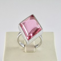 925 Silver Ring with Crystal Pink to Rhombus Cut Cabochon image 1