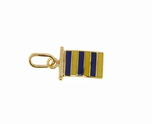 18K YELLOW GOLD NAUTICAL GLAZED FLAG LETTER G PENDANT CHARM MEDAL MADE IN ITALY