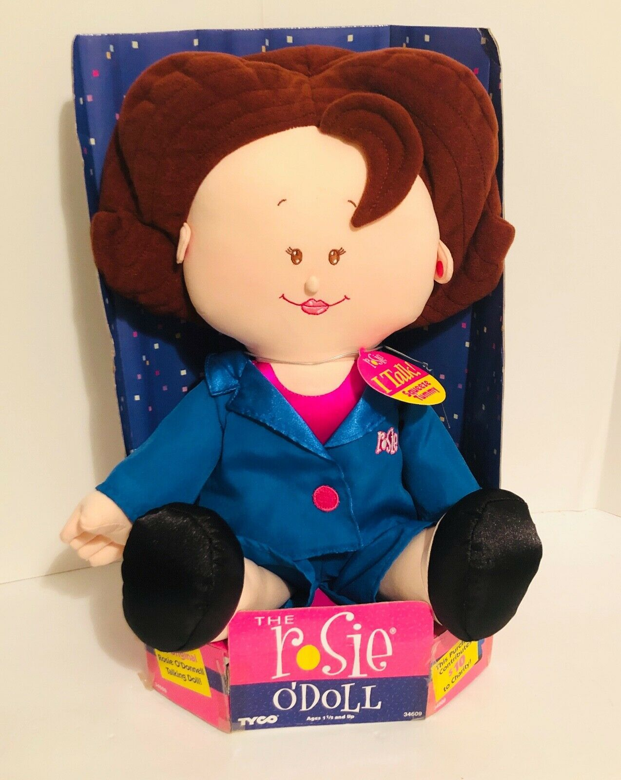 """New 1997 Rosie O'Donnell (O'Doll) Talking Celebrity Plush Doll 18"""" Tyco- Tested"""