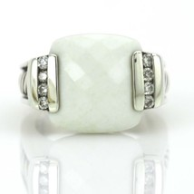 David Yurman White Agate and Diamonds Ring in Sterling Silver - $569.25