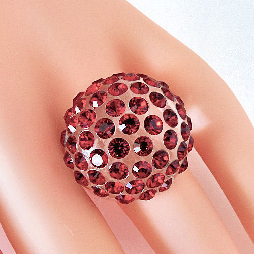 New Clear Acrylic Domed Ring Numerous Red Swarovski Elements Crystal On Dome