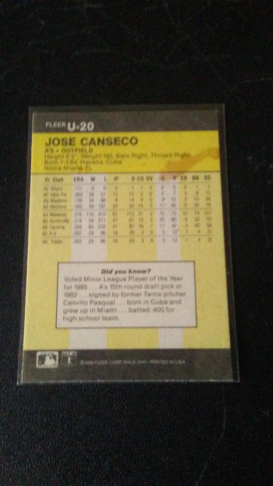 1986 Fleer Update Jose Canseco image 2