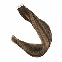 """Easyouth Tape Remy Hair Extensions 18"""" 50g 20Pcs Per Package Colour 4 Dark Brown image 2"""