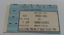 Ticket From Astros at Chicago Cubs, August 22, 1988-Biggio First MLB Homer - $19.50