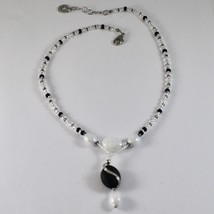 NECKLACE ANTIQUE MURRINA VENICE WITH MURANO GLASS BLACK AND WHITE , ADJUSTABLE image 1
