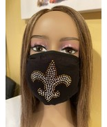 New Orleans Saints Bling Face Mask Rhinestone Logo Clear - £13.41 GBP
