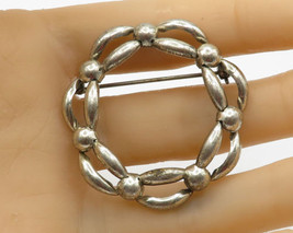 DANECRAFT 925 Sterling Silver - Faux Chain Link Wreath Brooch Pin - BP1642 - $32.26
