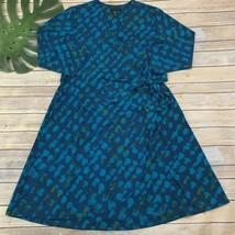 H By Halston Faux Wrap Dress Size L Teal Blue 3/4 Sleeve Geometric Print... - $25.33