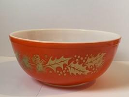 Vintage Pyrex Golden Leaf Promotional Christmas Bowl 404 w/ Pinecones An... - $49.49