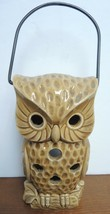 Vintage Tea Lantern Brown Owl With Bale Handle - $14.24