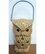 Vintage Tea Lantern Brown Owl With Bale Handle - $14.24