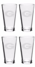 4 UNITS Georgia Bulldogs Pub Beer Glasses FREE Decal Etched Set x4 - $32.73