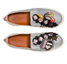 Coach Women's Slip On Skate Shoes Fashion Sneakers C115 Cherry Glitter Silver image 3