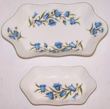 LOVELY PAIR OF CROWN STAFFORDSHIRE ENGLAND FINE BONE CHINA BLUEBELL SMAL... - $29.69