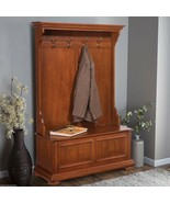 Warm Oak Finish Wooden Hall Tree Coat Rack Hat Hook Storage Stand Entryw... - $411.74