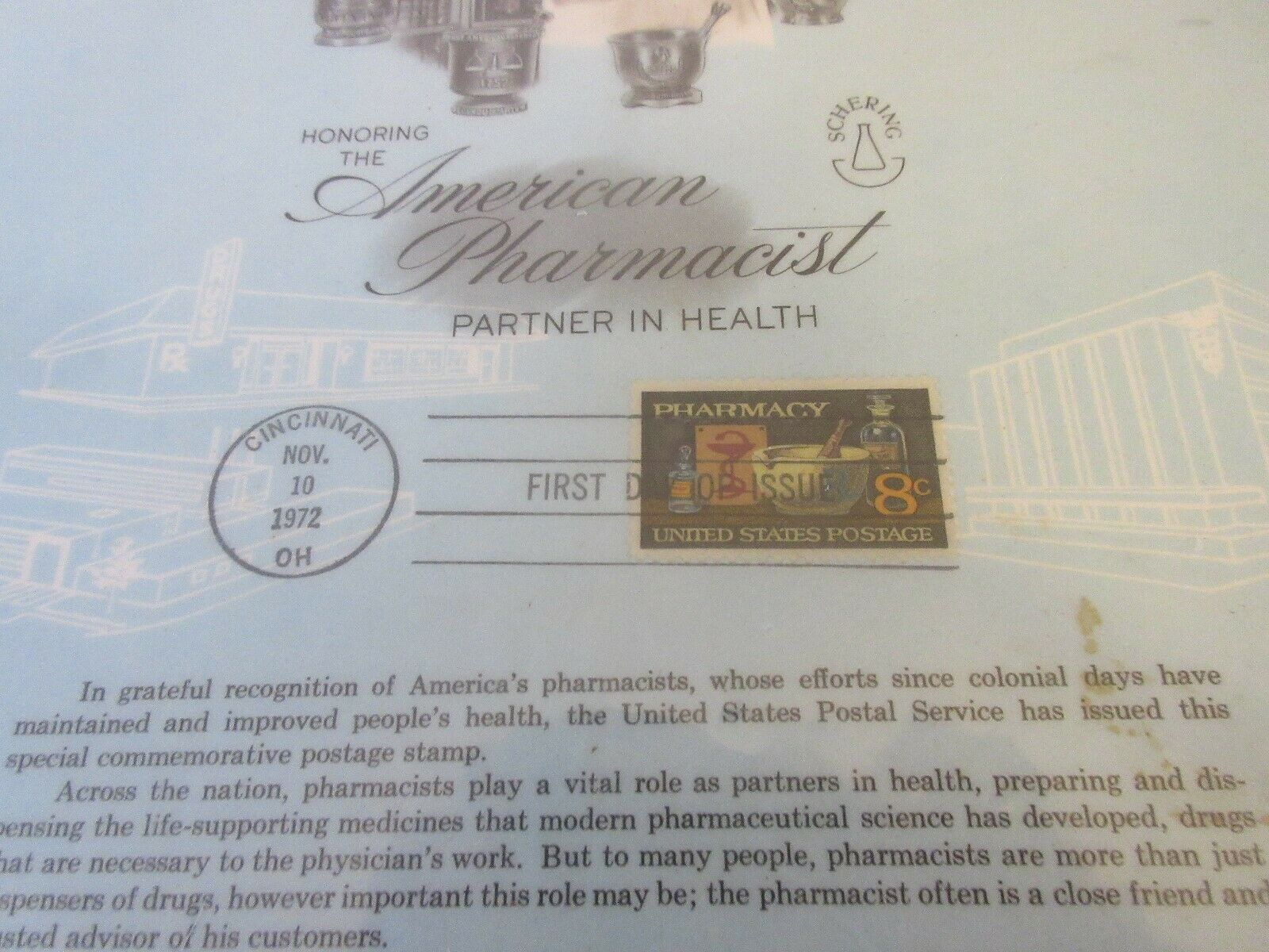 "Honor The American Pharmacist Partner In Health ,Plaque ,11/10/1972 , 11""X121/2"" image 4"